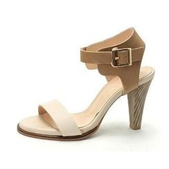 MODELSIS - Genuine-Leather Ankle-Strap Sandals