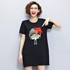 Lina Love - 短袖贴饰T恤裙