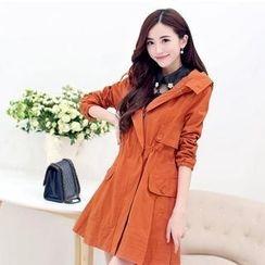 AiSun - Hooded Zip Trench Coat