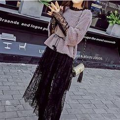 Honeydew - 套裝: 長袖蕾絲連衣裙 + 七分袖上衣