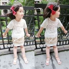 Happy Lala - Kids Set: Short-Sleeve Lace Top + Sequined Skirt