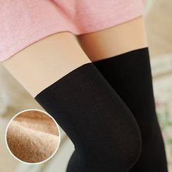 Cappuccino - Fleece-lined Tights