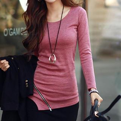 Rocho - Long-Sleeve Round-Neck Zip T-Shirt
