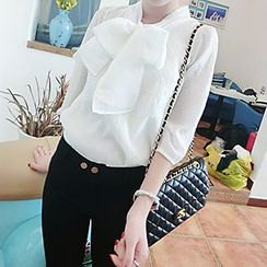 Jolly Club - Tie-Neck Chiffon Blouse