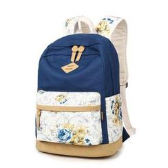 VIVA - Rose Print Canvas Backpack
