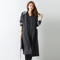 FASHION DIVA - Hooded Knit Long Wrap Coat with Sash