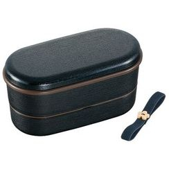 Skater - Japanese Style Mokume Oval 2 Layer Lunch Box (with Chopsticks) (Black)