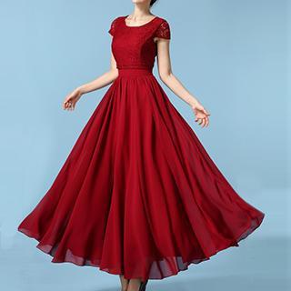 Rebecca - Short-Sleeve Lace Panel Chiffon Evening Dress