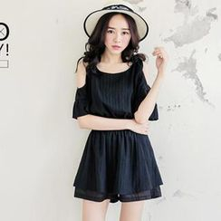 Tokyo Fashion - Cutout-Shoulder Striped Playsuit