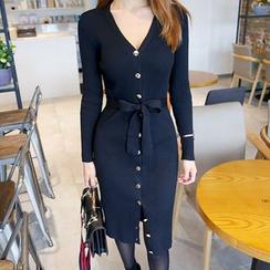 DABAGIRL - Button-Down Bodycon Dress with Sash
