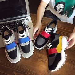 Yoflap - Color Panel Lace Up Sneakers