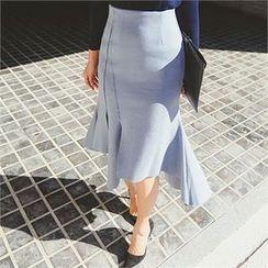 ERANZI - Asymmetric-Hem Long Skirt