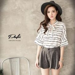 PUFII - Striped Tie-Front Elbow-Sleeve Top