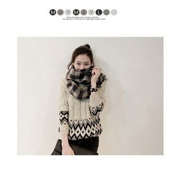 Maymaylu Dreams - Argyle Print Cable Knit Sweater