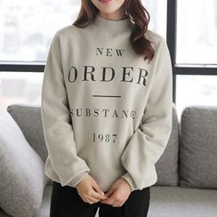 CLICK - Brushed-Fleece Lettering Print Sweatshirt