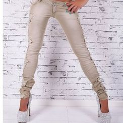 Charlotte - Lace-Panel Skinny Jeans