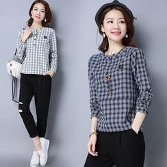Yeeya - Long-Sleeve Plaid T-Shirt