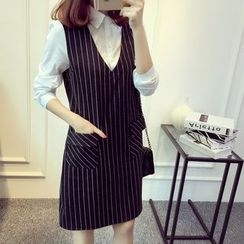 ANGELA - Long-Sleeve Mock Two Piece Striped Dress