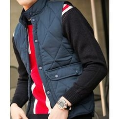 MEOSIDDA - Snap-Button Quilted Padded Vest