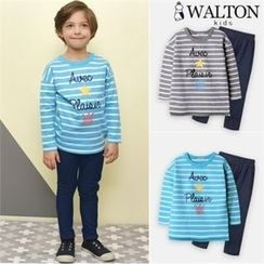 WALTON kids - Boys Set: Striped Lettering T-Shirt + Tapered Jeans