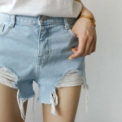 STYLEBYYAM - Distressed Denim Shorts