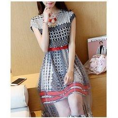 Dowisi - Plaid Mesh Panel Sleeveless Dress