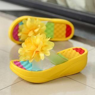 Noyo.Carr - Corsage Wedge Flip-Flops