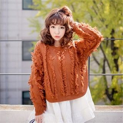 QNIGIRLS - Fringe-Trim Chunky-Knit Sweater