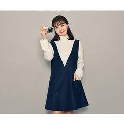 HOTPING - V-Neck A-Line Dress