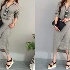 NANING9 - Wrap-Front Linen Shirtdress