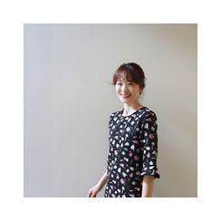 LEELIN - Short-Sleeve Patterned Dress