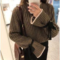 wisperia - 配色邊粗針織毛衣