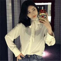 LIPHOP - Ribbon-Neck Fly-Front Blouse