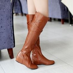 Shoes Galore - Faux Leather Hidden Wedge Tall Boots