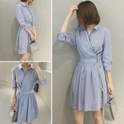 Bloombloom - Stripe 3/4-Sleeve Shirtdress