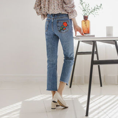 JUSTONE - Rose-Appliqué Washed Straight-Cut Jeans