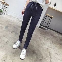 Heybabe - Striped Drawstring Skinny Pants