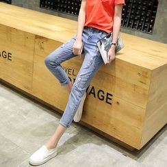 Sonnet Isle - Cropped Distressed Jeans