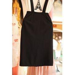 Daybreak - Set: Embellished Short-Sleeve T-Shirt + Suspender Skirt