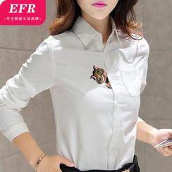 Eferu - Cat Embroidered Long-Sleeve Shirt