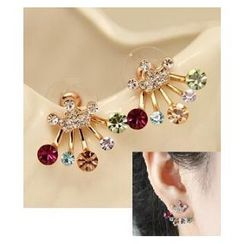 Glamiz - Rhinestone Crown Spray Earrings