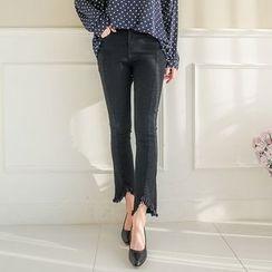 Seoul Fashion - Band-Waist Distressed Skinny Jeans