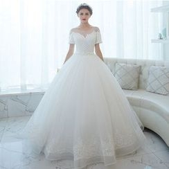 MSSBridal - Short Sleeve Wedding Ball Gown