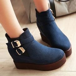 Gizmal Boots - Buckled Hidden Wedge Platform Ankle Boots