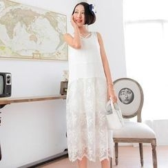 Xiaowei - Lace Panel Sleeveless Midi Dress