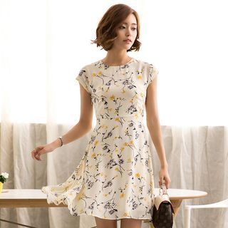 Eleganza - Floral Print Chiffon Dress