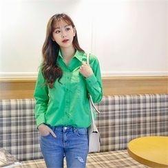 Styleberry - Pocket-Front Long-Sleeve Shirt