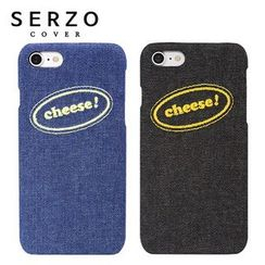 LIFE STORY - Lettering Embroidery Denim iPhone 7 / Galaxy S7 / S7 edge Case