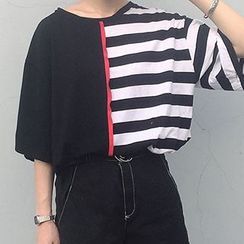 Cloud Nine - Stripe Elbow-Sleeve T-Shirt