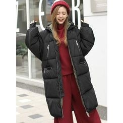 BBAEBBAE - Hooded Zip-Pocket Long Puffer Coat